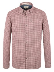 Racing Green Pope Mini Check Long Sleeve Shirt Red