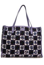 Emilio Pucci Woman Leather Trimmed Printed Twill Tote Midnight Blue
