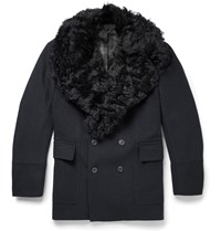 Gieves And Hawkes Badric Shearling Trimmed Wool Coat Blue