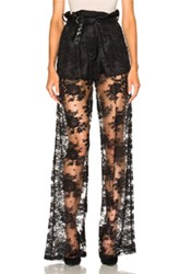 Ryan Roche Short Lined Lace Trouser Pant In Black