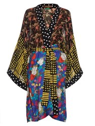Doru Olowu Multi Print Georgette Kimono Coat Yellow Multi