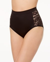 Maidenform Firm Foundations Firm Control High Waist Lace Panel Brief Dm1028 Nude Transparent
