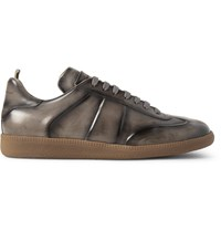 Officine Creative Germain Polished Leather Sneakers Gray