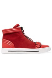 Marc By Marc Jacobs Suede And Leather High Top Sneakers Red