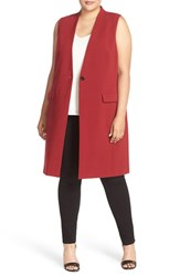 Halogenr Plus Size Women's Halogen One Button Long Vest Red Syrah
