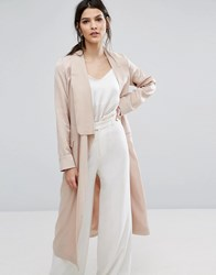 Neon Rose Relaxed Duster Coat In Hammered Satin Pink