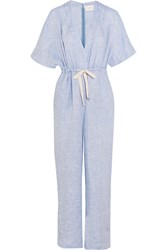 Solid And Striped The Cape Linen Jumpsuit Sky Blue