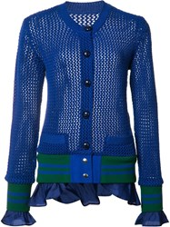 Sacai Open Knit Cardigan Blue