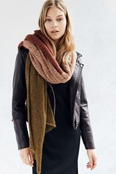 Urban Outfitters Colorblock Airy Knit Blanket Scarf Rust