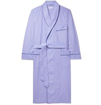 Kingsman Turnbull And Asser Piped End On End Cotton Robe Blue