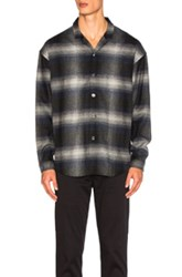 Second Layer Camp Collar Oversize Shirt Jacket In Black Checkered And Plaid Black Checkered And Plaid