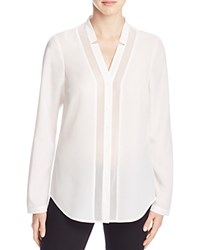 Finity Sheer Inset Button Down Shirt White