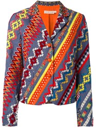 Tory Burch Embroidered Blazer Women Cotton Acrylic Polyester Other Fibres 6 Blue