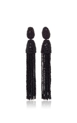 Oscar De La Renta Long Beaded Tassel Earrings Black