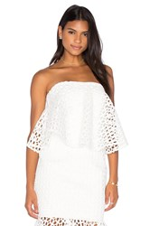 Aijek Doubleday Embroidered Bustier Top White