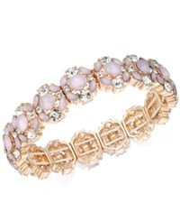 Charter Club Rose Gold Tone Crystal And Pink Stone Stretch Bracelet Created For Macy's