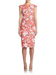 Oscar De La Renta Stretch Cotton Printed Cap Sleeve Dress Granita