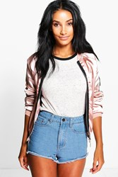 Boohoo Frayed Edge Denim Shorts Dark Blue