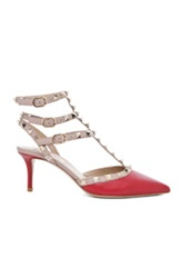 Valentino Rockstud Leather Slingbacks T.65 In Red