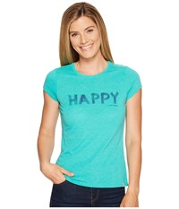 Life Is Good Happy Sweet Tee Bright Teal Women's T Shirt Blue