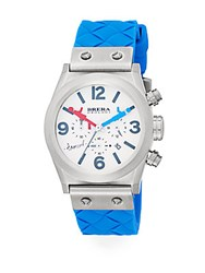 Brera Orologi Limited Edition Stephen Gamson Stainless Steel Enamel And Rubber Chronograph Watch Blue