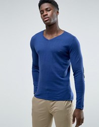 Selected Fitted V Neck Soft Feel Knitwear Navy