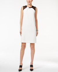 Alfani Faux Leather Trim Dress Only At Macy's Bright White