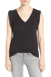 Trouve Shoulder Pleat Sleeveless Tee Black