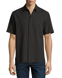 Neiman Marcus Lattice Print Short Sleeve Shirt Black