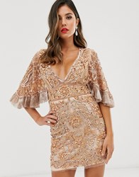 A Star Is Born Embellished Mini Dress With Cape Detail Tan