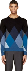 Burberry Blue Cashmere Argyle Sweater