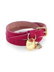 Alexander Mcqueen Skull Leather Wrap Bracelet Soft Pink