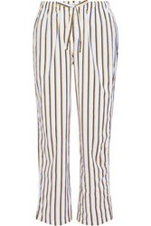 Sleepy Jones Marina Striped Cotton Poplin Pajama Pants Ivory