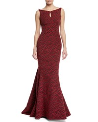 Zac Posen Floral Party Jacquard Sleeveless Mermaid Gown Red Pattern