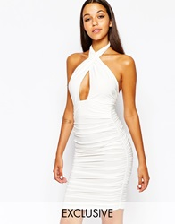 Club L Slinky Wrap Front Dress With Halterneck White