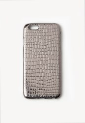 Missguided Silver Metallic Croc Effect Iphone 6 Case Pewter