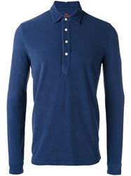 Massimo Piombo Mp Towell Long Sleeve Polo Shirt Men Cotton S Blue