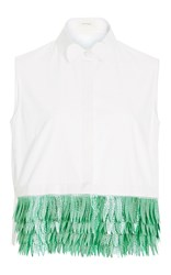 Delpozo Sleeveless Cotton Button Up Shirt With Jacquard Fringe Hem White