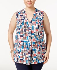 Charter Club Plus Size Geometric Print Top Only At Macy's Cloud Combo