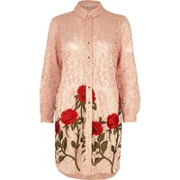 River Island Womens Pink Lace Floral Embroidered Shirt