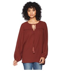 Bishop Young Peasant Blouse Rust Long Sleeve Pullover Red