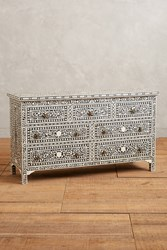 Anthropologie Bone Inlay Seven Drawer Dresser Black