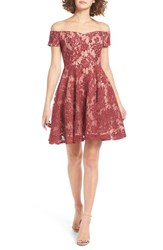 Soprano Women's Lace Off The Shoulder Fit And Flare Dress Burgundy