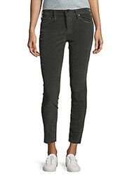 Mother Looker Frayed Ankle Jeans Military Green