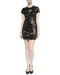 Generation Love Leather Trim Sequined Short Dress Black