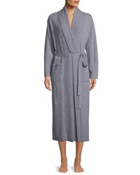 Neiman Marcus Cashmere Long Robe Soft Charcoal