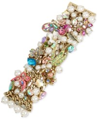 Betsey Johnson Gold Tone Stone Crystal And Imitation Pearl Floral Statement Bracelet Multi