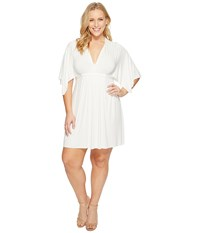 Rachel Pally Plus Size Mini Caftan Dress White Women's Dress