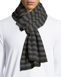 Penguin Bailey Men's Striped Scarf Rifle Gree