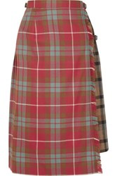 Andersson Bell Buckled Asymmetric Paneled Pleated Checked Wool Skirt Red